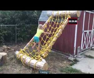 dad builds ninja warrior course Funny Video