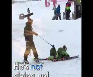 drunk skiing Funny Video