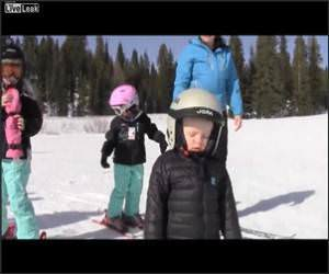 Kid Falls Asleep Skiing Funny Video