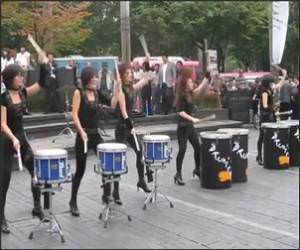 Female Korean Drum Band Funny Video