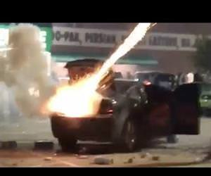 fireworks explode in a car Funny Video