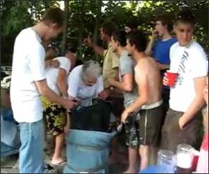 Grandma Keg Stand Video
