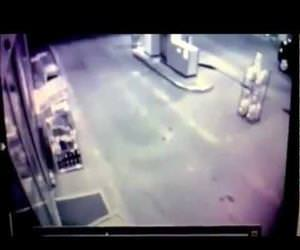 guy runs right into gas station door Funny Video