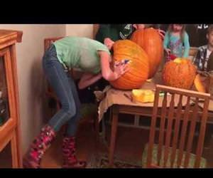 head stuck in a pumpkin Funny Video