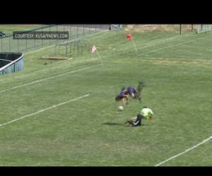 high school soccer player flips to score