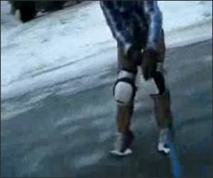 Knee Ice Sliding Funny Video