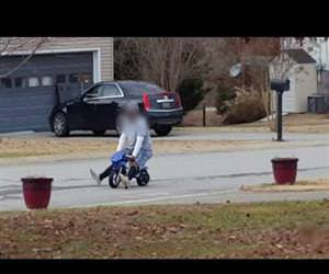 large man driving a mini bike Funny Video