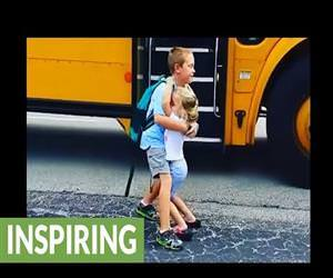 little girl hugs her brother every day Funny Video