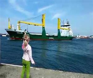 little girl regrets asking ship to honk