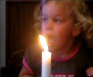 Little Girl vs Candle Funny Video