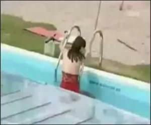 Model Falls in Pool Funny Video