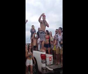 moron spring breaker back flips Funny Video