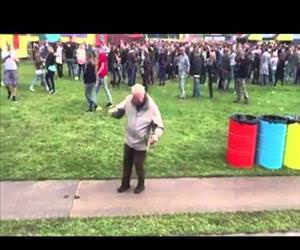 old man dancing at music festival Funny Video