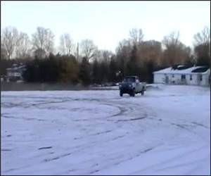 Pickup Truck Snowbank Jump Video