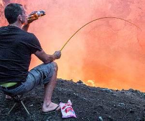 roasting marshmallows on volcano Funny Video