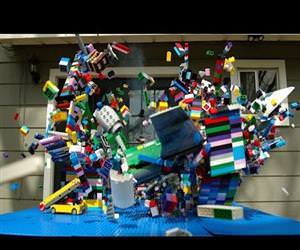 slow motion lego plane crash Funny Video