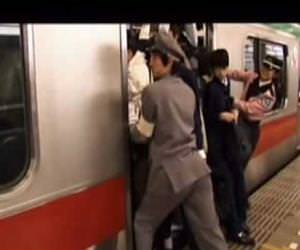 subway in japan during rush hour Funny Video