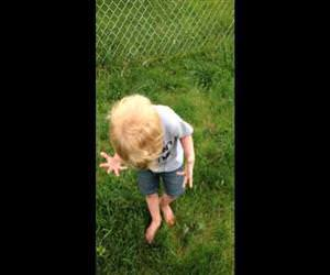 toddler steps in dog poop Funny Video