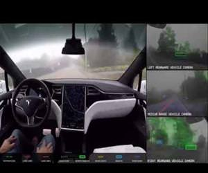 what the tesla car sees when it drives Funny Video