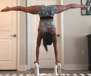 kacy catanzaro shows off her strength