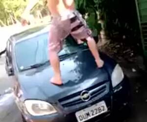 dancing on a wet car
