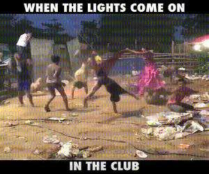 lights on in the club
