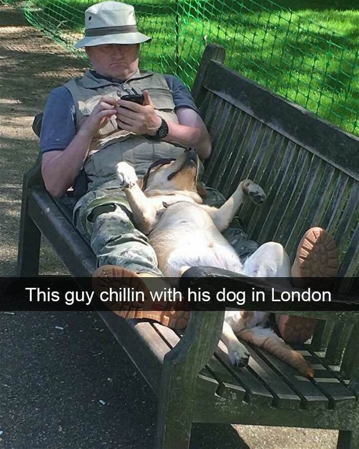 chilling with his dog