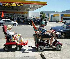 Old people towing