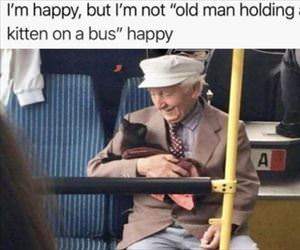 old man on a bus happy