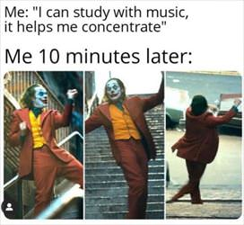 study with the music on