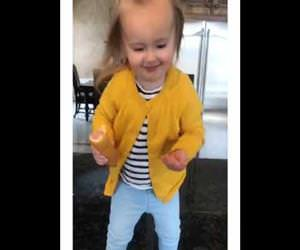 Toddler Girl with Corn Dog Dances to Beyonce Funny Video