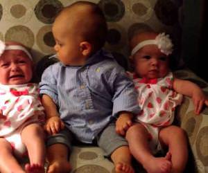 confused toddler meets twins Funny Video
