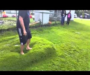 popping a giant water lawn bubble Funny Video